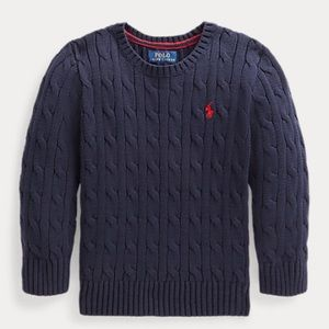Kids Polo Cable-Knit Cotton Sweater